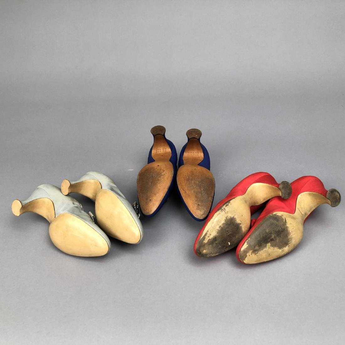 THREE PAIR GRECO JEWELED SILK PUMPS, 1925 - 1930 - 2