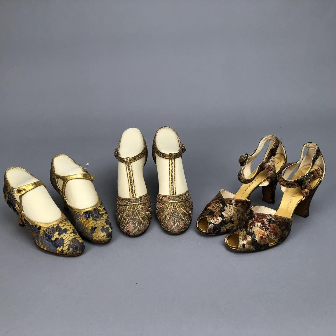THREE PAIR BROCADE and LAME SHOES,  1925 - 1935