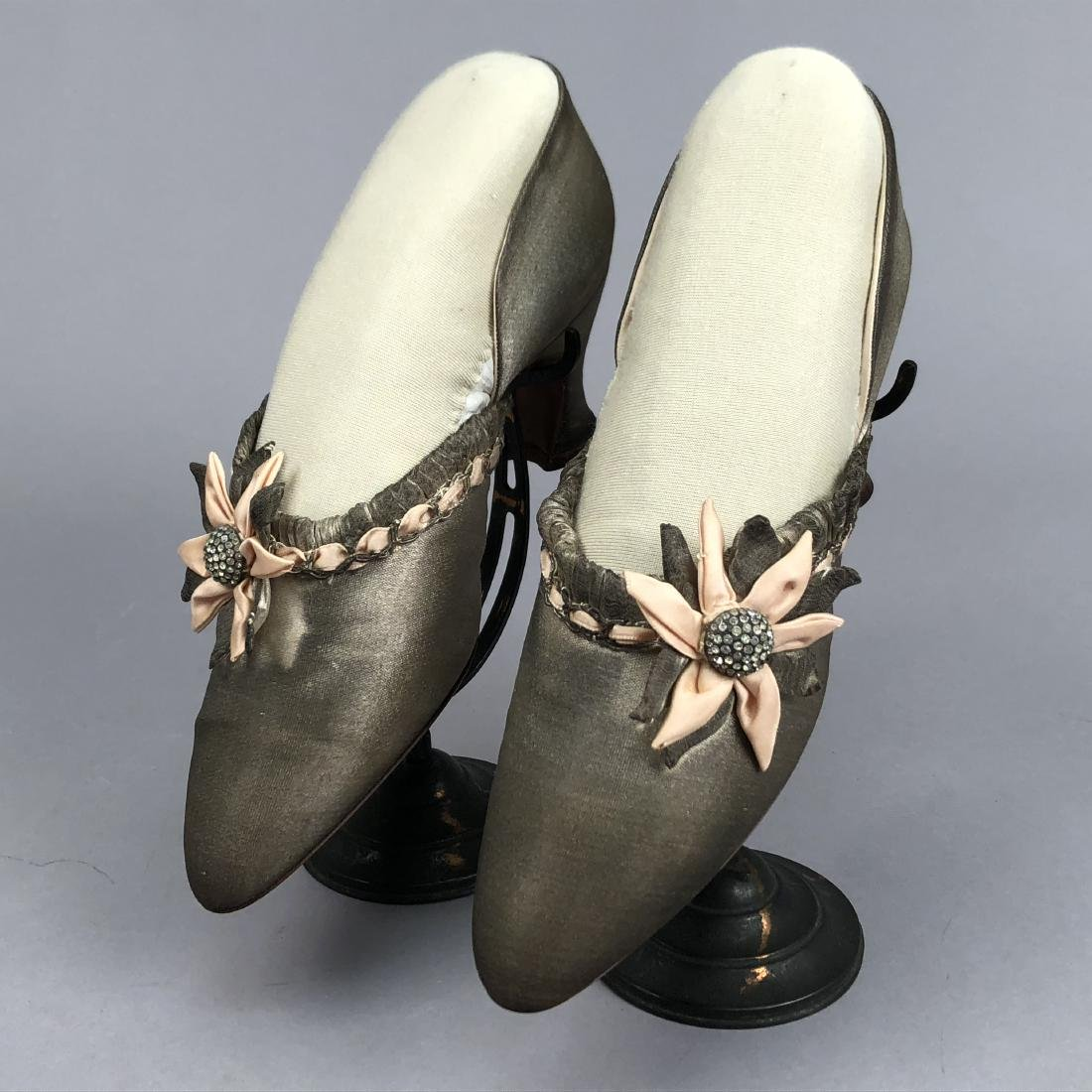 SILVER LAME SLIPPERS with RHINESTONES, 1930s