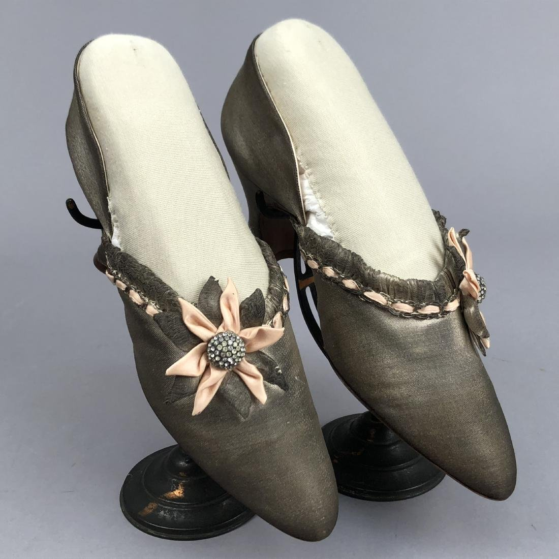 SILVER LAME SLIPPERS with RHINESTONES, 1930s - 2