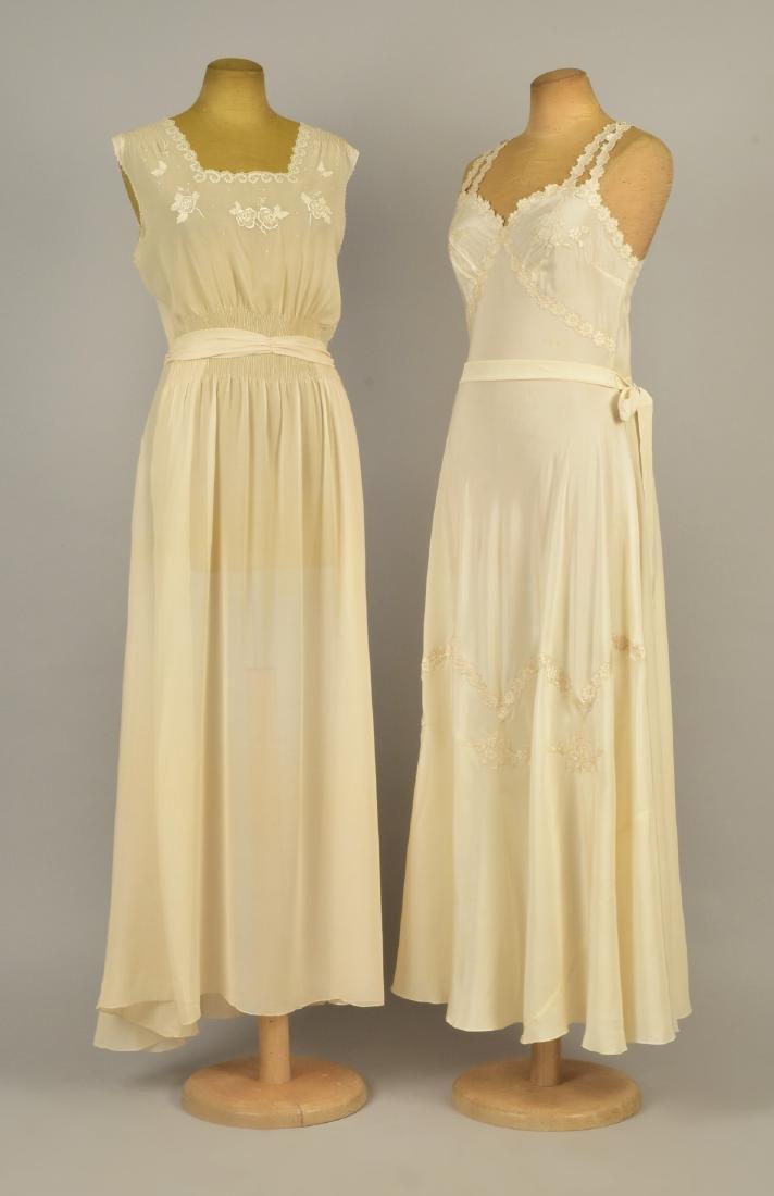 TWO APPLIQUED CREAM SILK NIGHTGOWNS, c. 1938