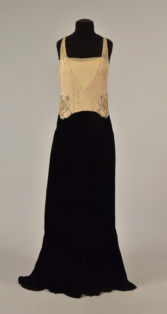 VELVET EVENING GOWN with BEADED BODICE, 1930