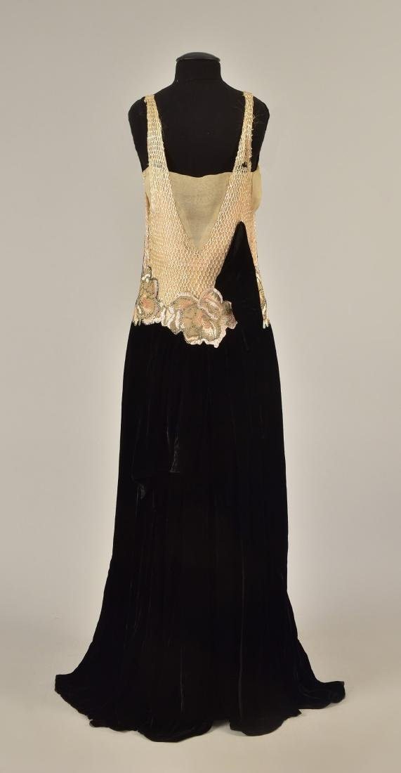 VELVET EVENING GOWN with BEADED BODICE, 1930 - 2