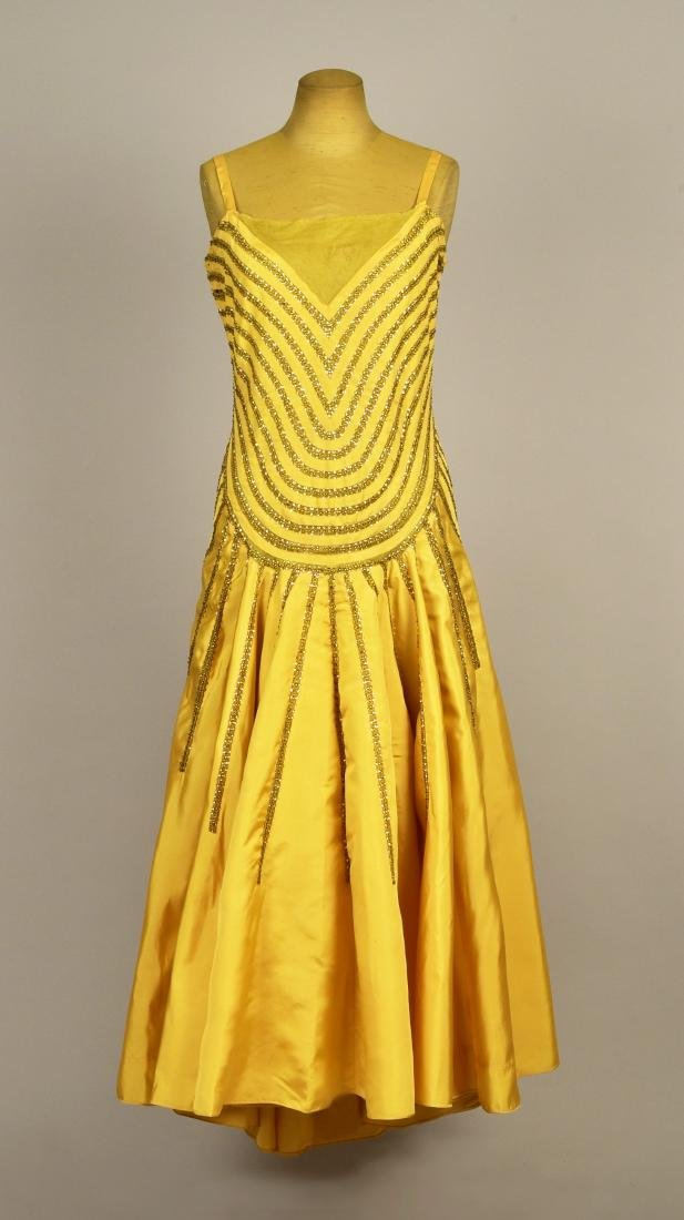 LANVIN COUTURE SEQUINED SILK DRESS, WINTER 1929 - 1930