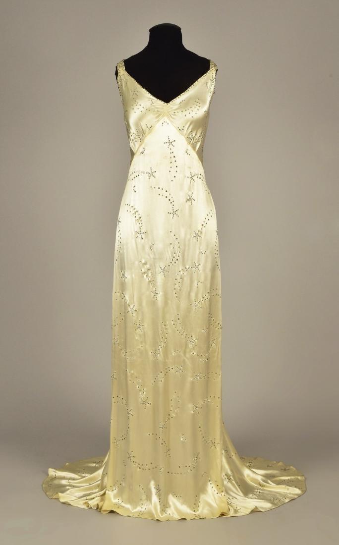 WHITE SATIN GOWN with DIAMANTE, 1930s