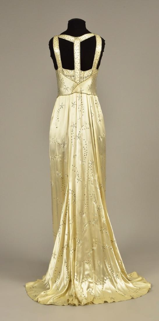WHITE SATIN GOWN with DIAMANTE, 1930s - 2