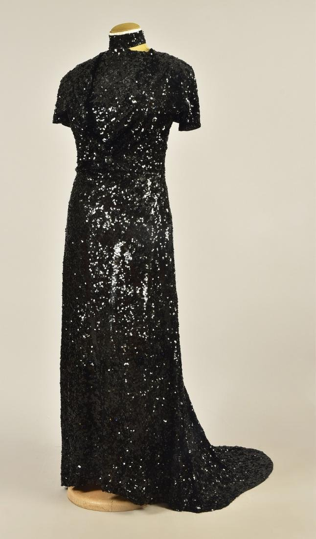 TRAINED SEQUINED GOWN with JACKET, 1930s