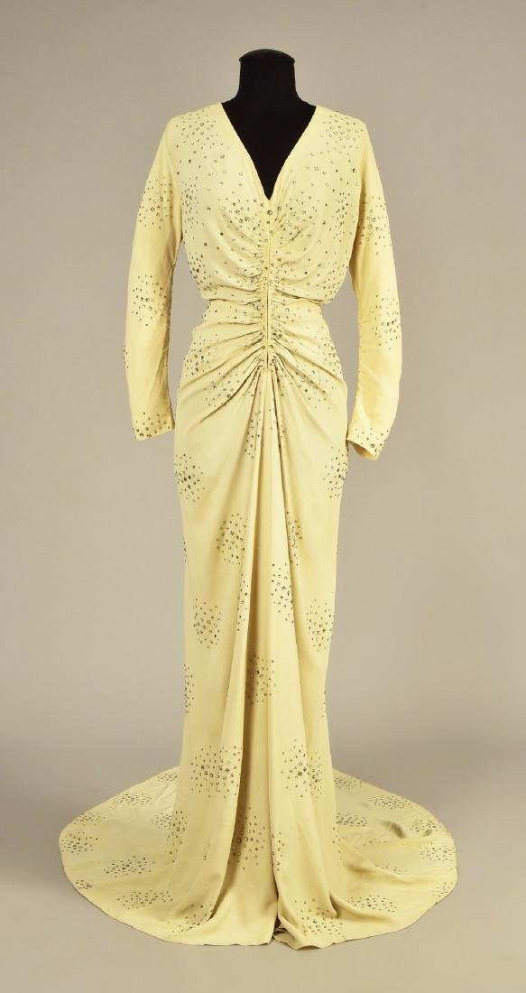 CREPE GOWN with DIAMANTE, possibly SCHIAPARELLI, 1930s