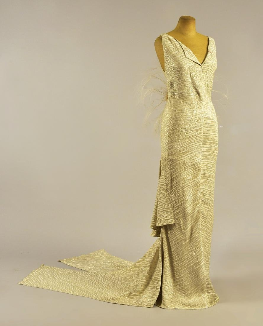 PAQUIN SILVER LAME GOWN, attributed to YVETTE GUILBERT
