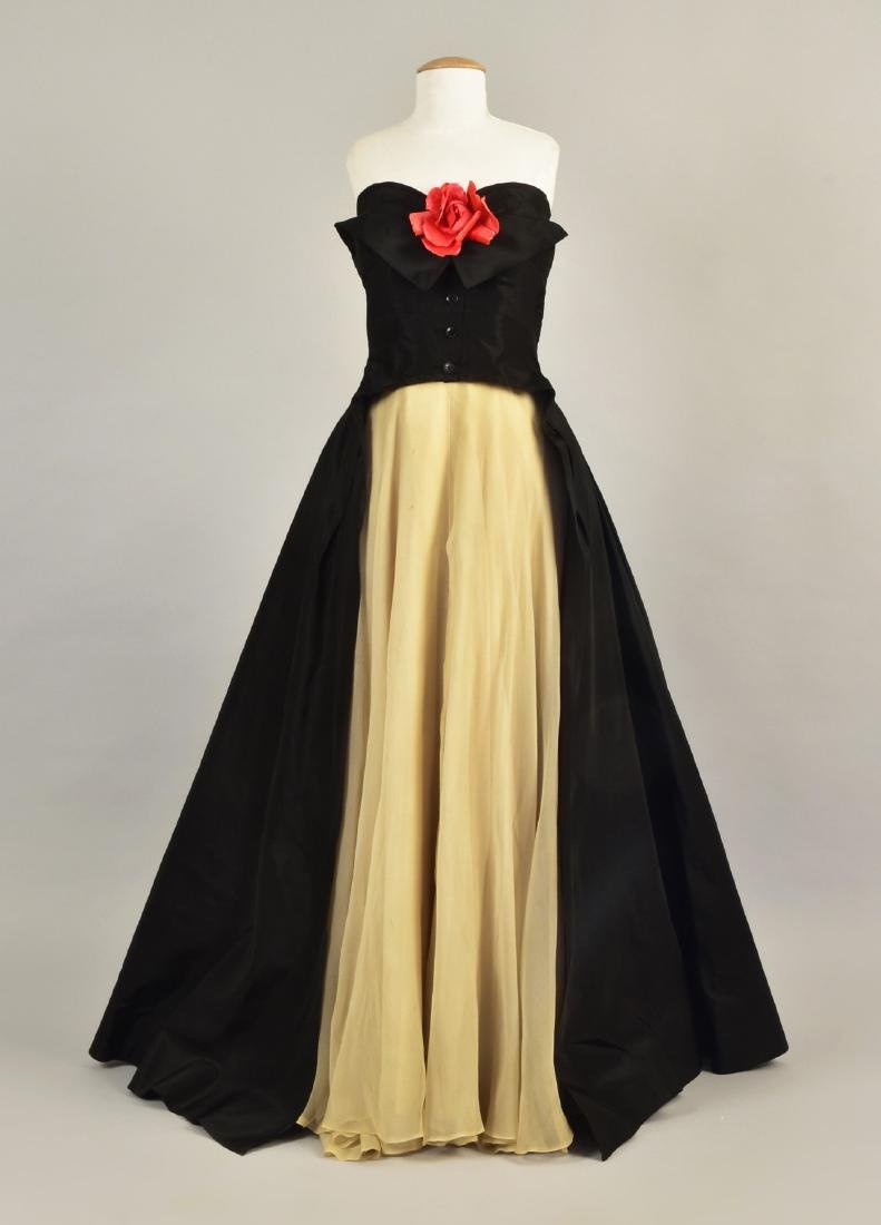 STRAPLESS TAFFETA and CHIFFON EVENING GOWN, 1950