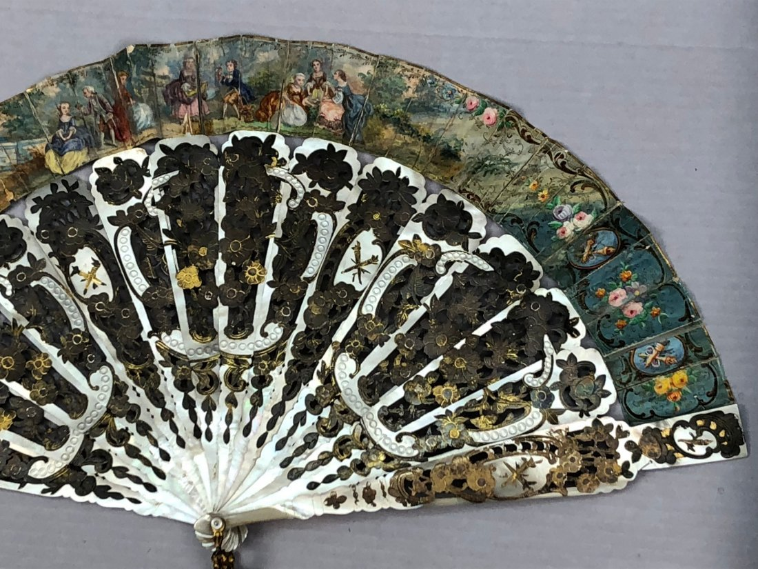 TWO FANS with PAINTED PAPER LEAF, 1780 and 1855 - 3