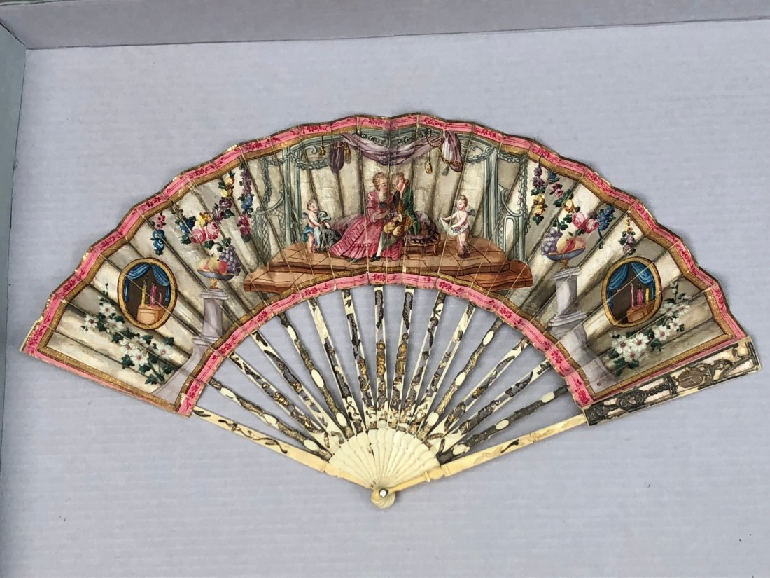 TWO FANS with PAINTED PAPER LEAF, 1780 and 1855 - 4