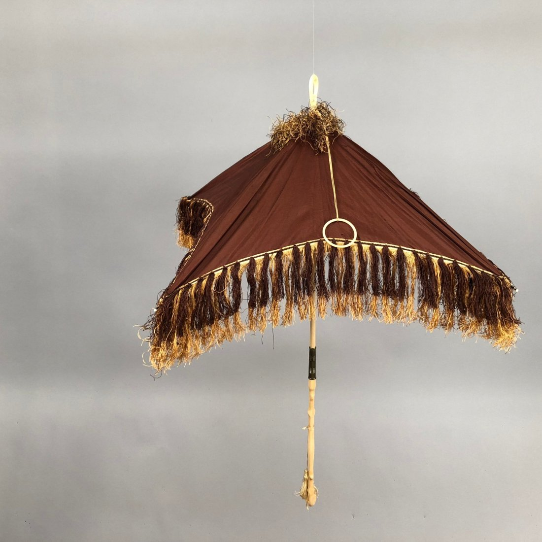 SQUARE SILK FOLDING PARASOL, 1840s - 2