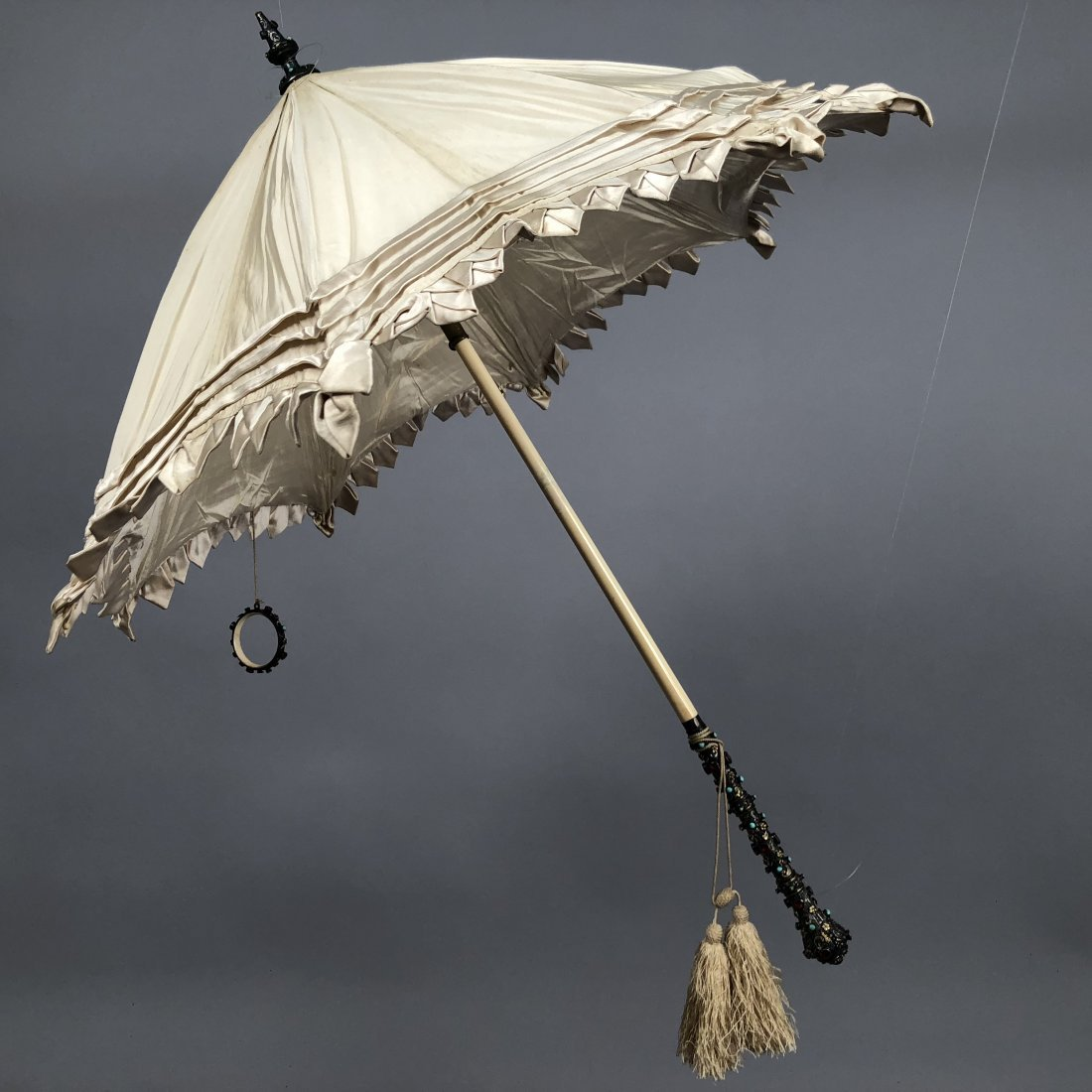 SILK PARASOL with JEWELED and IVORY HANDLE, 1850 - 1860
