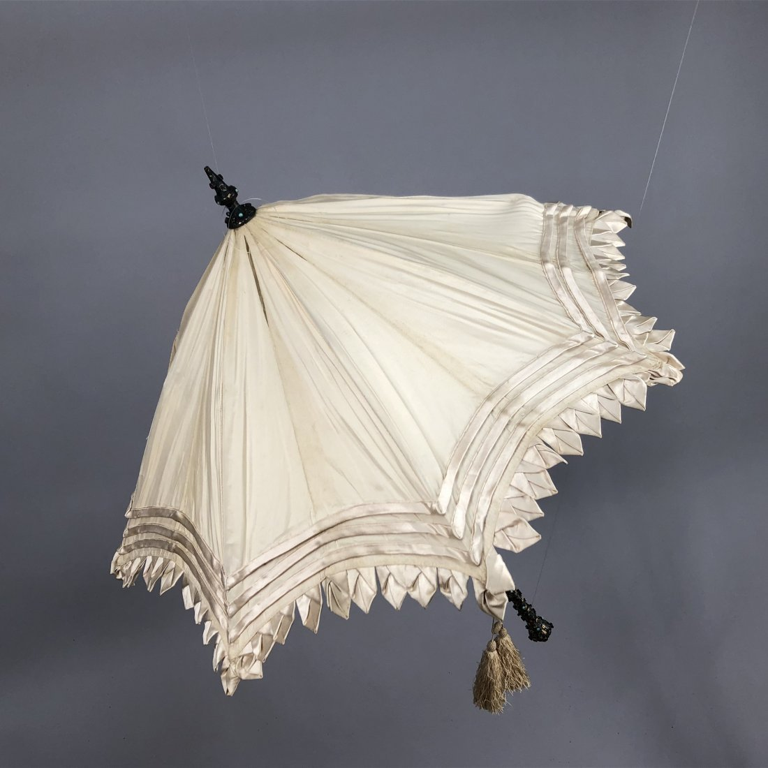 SILK PARASOL with JEWELED and IVORY HANDLE, 1850 - 1860 - 3
