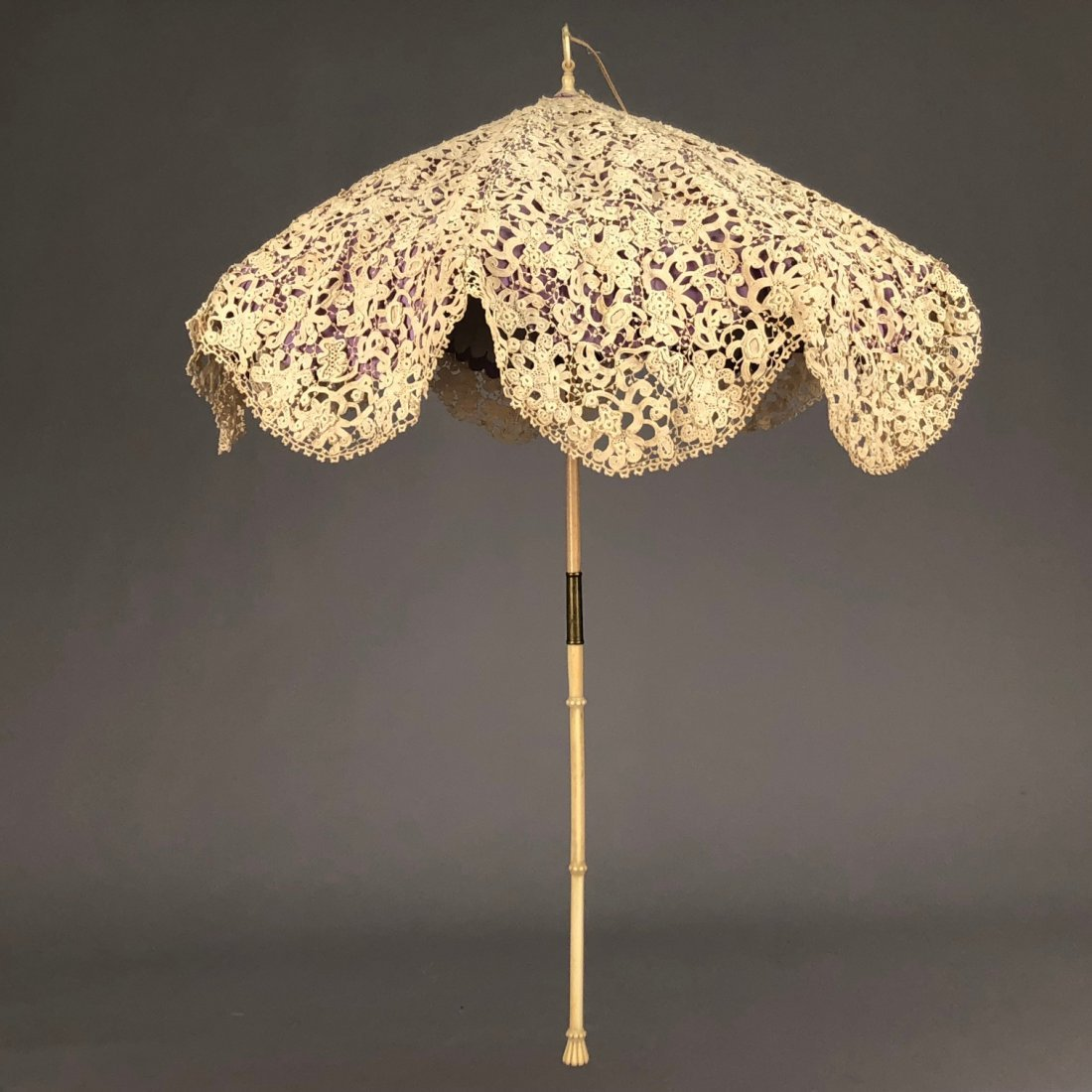 SILK and LACE PARASOL with CARVED IVORY HANDLE,