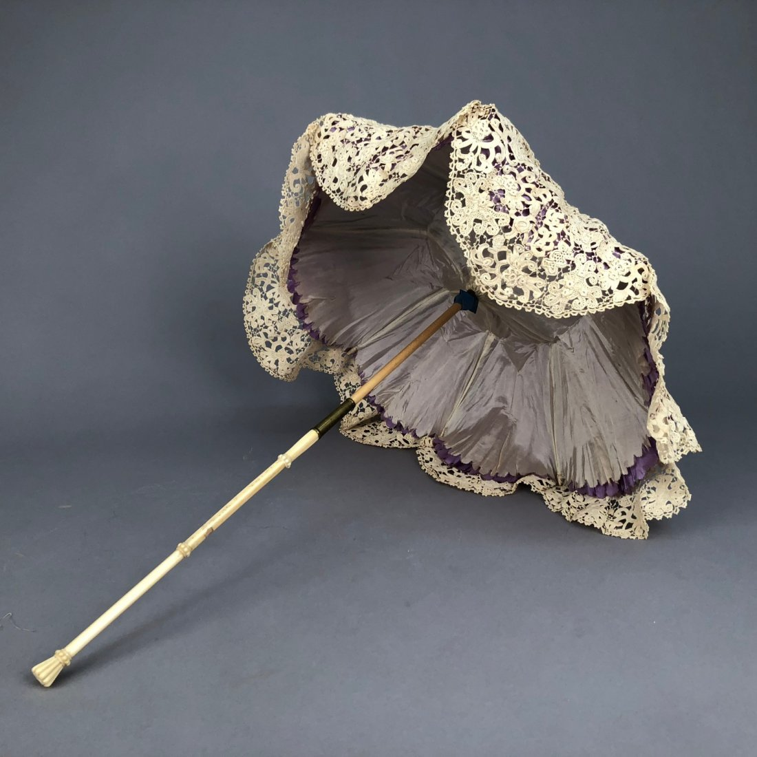 SILK and LACE PARASOL with CARVED IVORY HANDLE, - 5