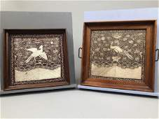 TWO FRAMED CHINESE RANK BADGES EARLY 20th C