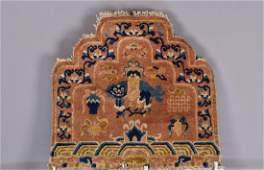 TWO CHINESE CARPET THRONE BACKS, 19th C.