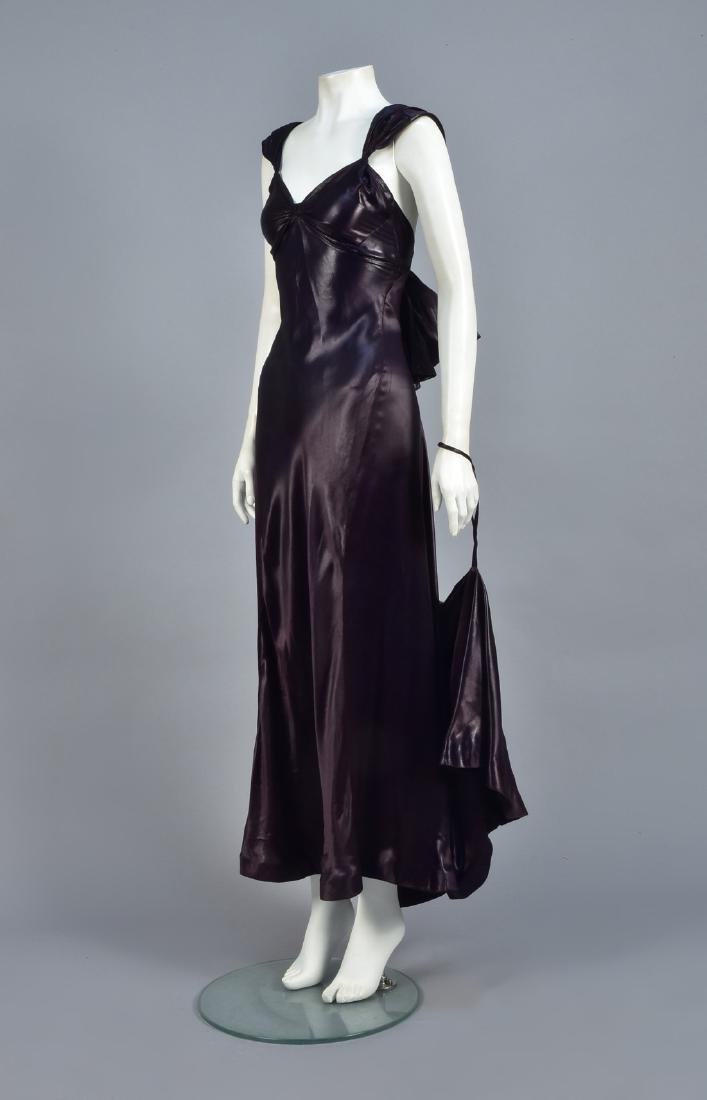 AUBERGINE LIQUID SATIN GOWN, 1930s