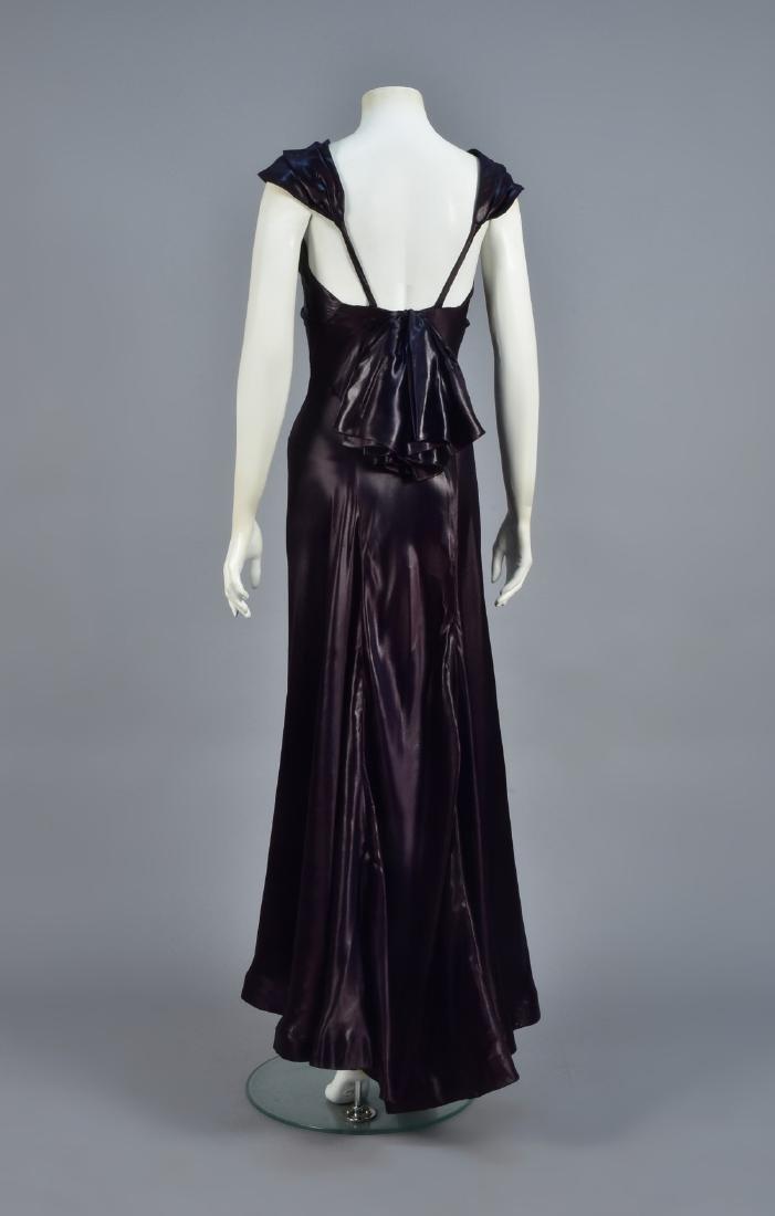 AUBERGINE LIQUID SATIN GOWN, 1930s - 3