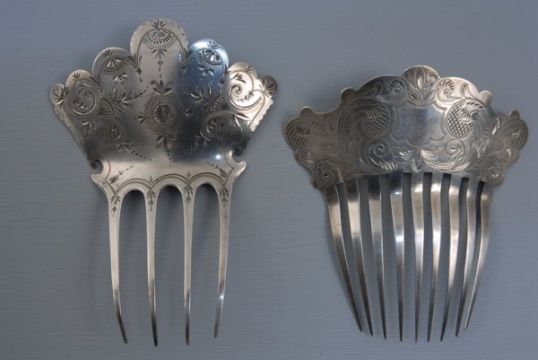 11: TWO SILVER HAIR COMBS, 1875-1890 One bright cut, ma