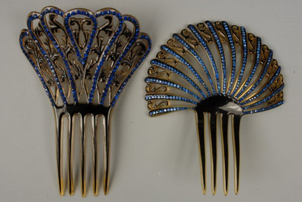 14: TWO BLACK OVER CLEAR CELLULOID HAIR COMBS with BLUE