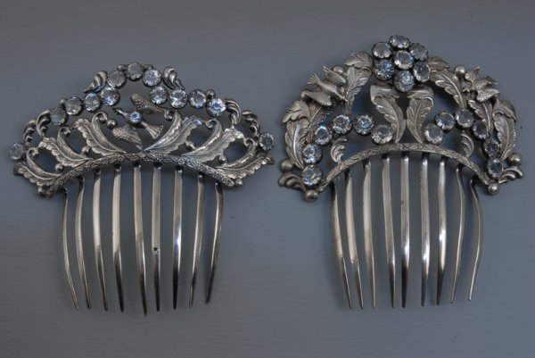 17: TWO SILVER and FRENCH PASTE HAIR COMBS, 1860-1880 B