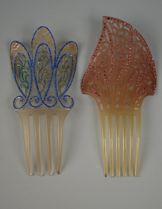 20: TWO FROSTED CELLULOID HIGH HAIR COMBS with COLORED