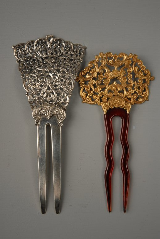 32: TWO STERLING SILVER HAIRPINS, 1890-1900 One all sil