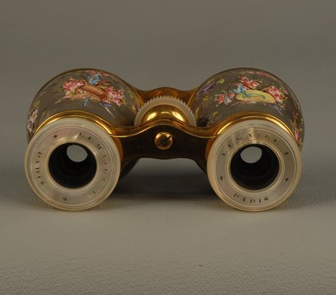 53: HAND PAINTED OPERA GLASSES and NEEDLEPOINT CASE, LA
