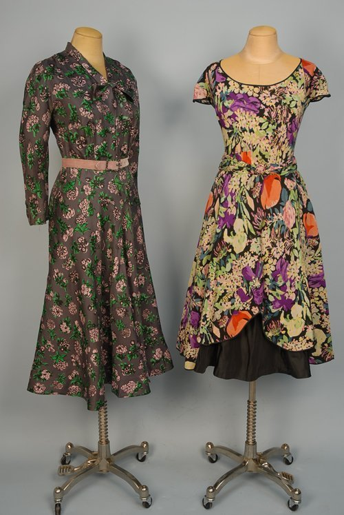 522: TWO PRINTED SILK SUMMER DRESSES, 1940s-1950s One m