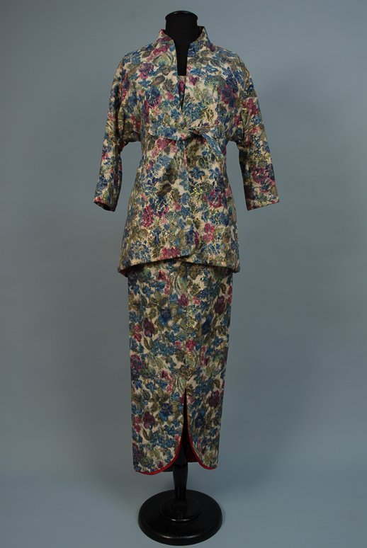 525: METALLIC FLORAL EVENING GOWN and JACKET, 1955-1965