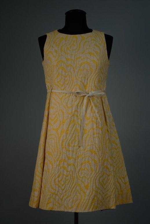 528: COTTON MINI DRESS AND COAT ENSEMBLE, 1960-1965 Yel