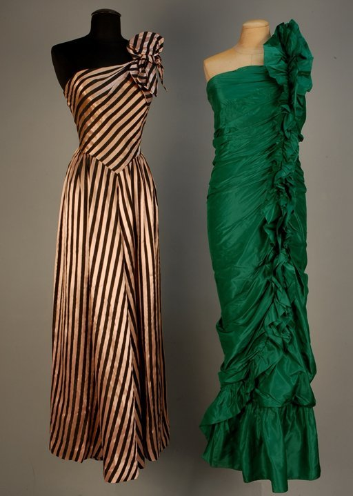 532: TWO ASYMMETRICAL EVENING GOWNS, MID 20th C Straple
