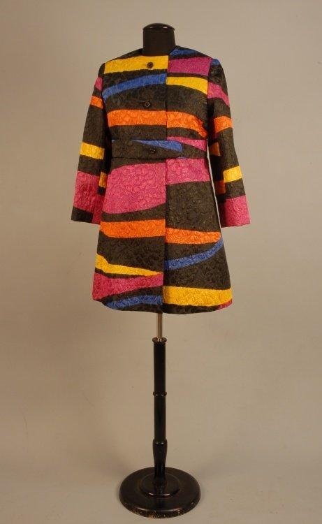 534: TASSELL MINIDRESS AND COAT SET, 1960s Silk brocade