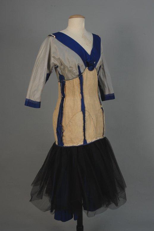 535: SAMUEL WINSTON SAPPHIRE SILK SATIN COCKTAIL DRESS,