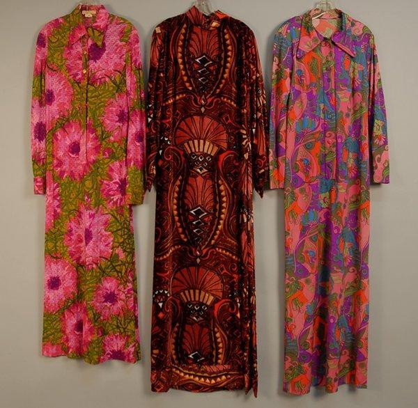 537: THREE PRINTED HOSTESS GOWNS, 1960s Two Ann Pakrado