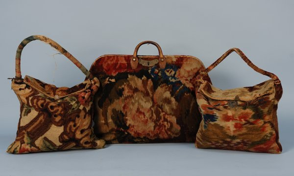 587: THREE CARPET BAGS, 1845-1875 Two small with flap c
