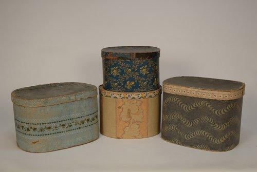 591: FOUR WALLPAPER COVERED HAT BOXES, 1850s-1890s Vari