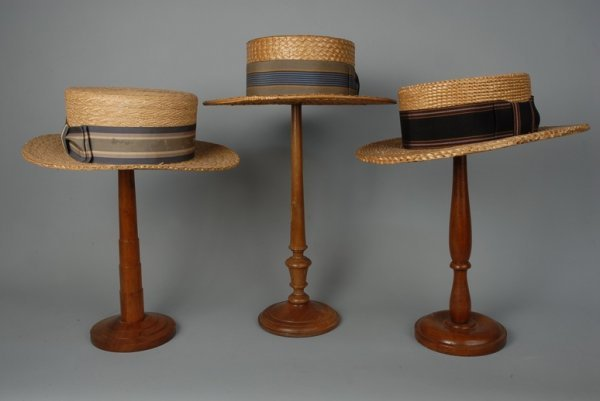 592: THREE GENTS' STRAW BOATERS, c. 1920 One with blue