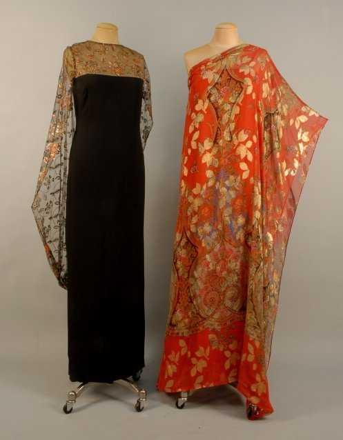 811: TWO ANN PAKRADOONI EVENING GOWNS, 1970s Black silk