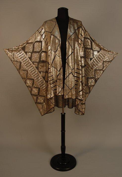824: EGYPTIAN ASUITE COCOON SHAWL, c. 1920 Black cotton