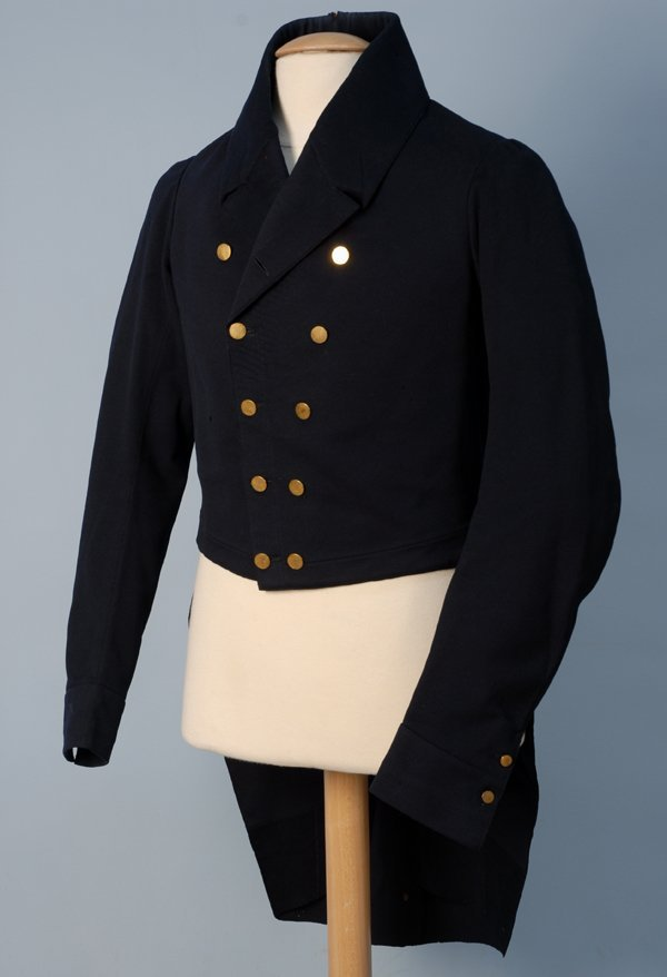 912: GENT'S TAIL COAT, 1825-1840 Double breasted blue w