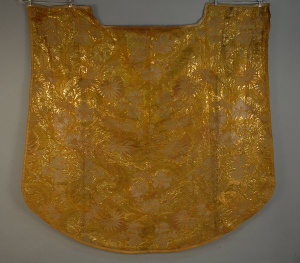13: METALLIC BROCADE SILK, 18th-19th C. Heavy gold with