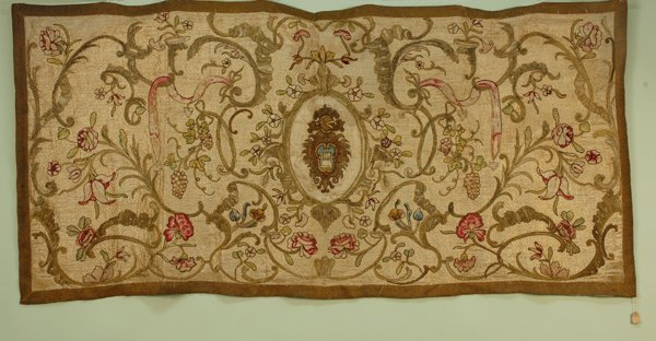 14: SILK and METALLIC EMBROIDERED PANEL, 19th C. White
