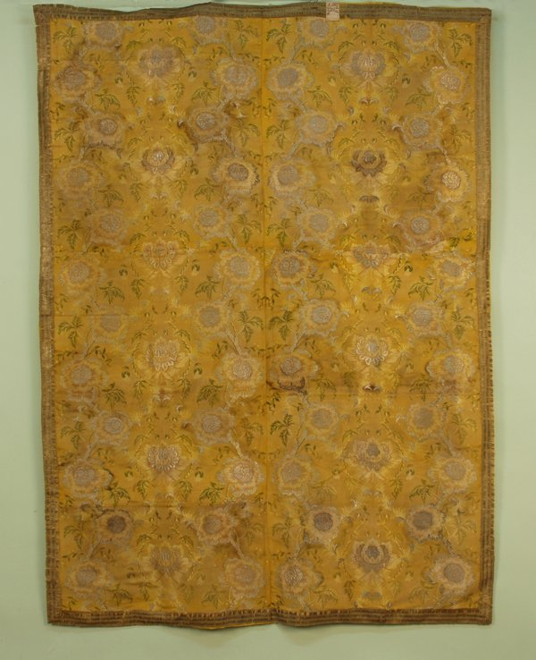 21: PIECED GOLD SILK and SILVER METALLIC BROCADE PANEL