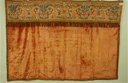27: SILK EMBROIDERED and VELVET ALTAR FRONTAL, 19th C.