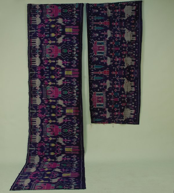 34: TWO CAMBODIAN PURPLE SILK IKAT PANELS, 20th C. Both