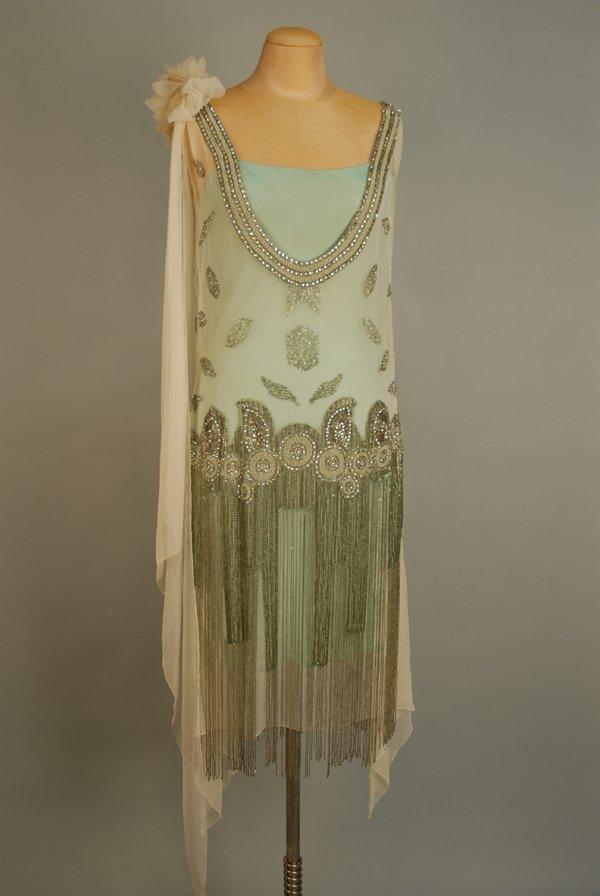 303: JEWELED FLAPPER DRESS with BEADED FRINGE, 1920's.